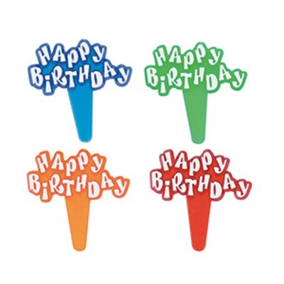 Happy Birthday Red Blue Orange Green -24pk Cupcake / Desert / Food Decoration Topper Picks with Favor Stickers & Sparkle