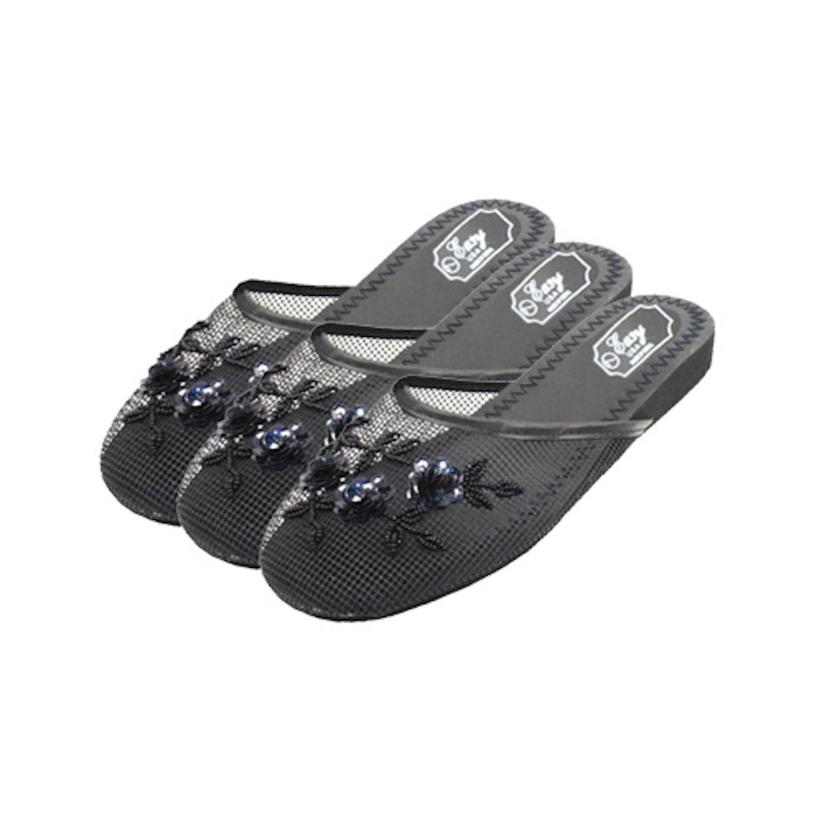 Women's Black Chinese Mesh Slippers