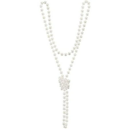 Plastic Rosary Necklace (Winter White Plastic Pearl Beads Costume Necklace)