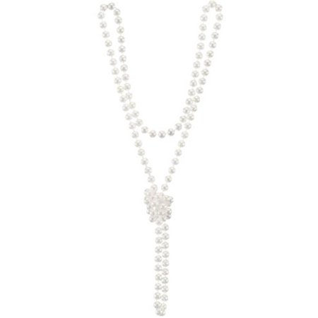 Winter White Plastic Pearl Beads Costume Necklace