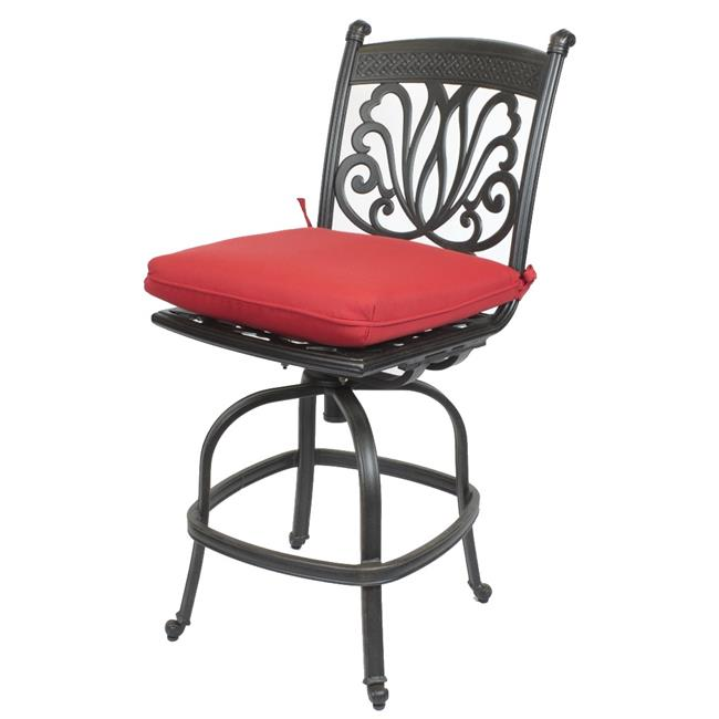 Comfort Care CC01D-JR Cast Aluminum Armless Designer Counter Outdoor Barstool with Sunbrella Jockey Red Cushion - 47.4 x 20.9 x 26.6 in. - Set of 2