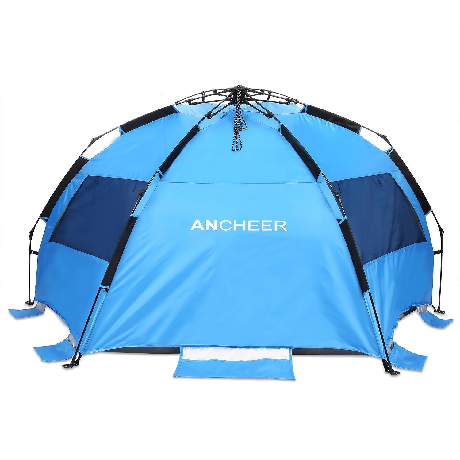 Clearance! Polyester Pop-up Beach Tent  Waterproof UV Shelter for  3-4 Person