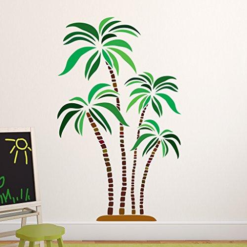 Green and Brown Palm Wall Decal - Wall Sticker, Vinyl Wall Art, Home Decor, Wall Mural - SD3039 - 16x10