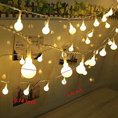 100 Led Globe String Lights Ball Christmas Indoor Outdoor Decorative Light 39 Ft Warm White For Patio Garden Party Xmas Tree