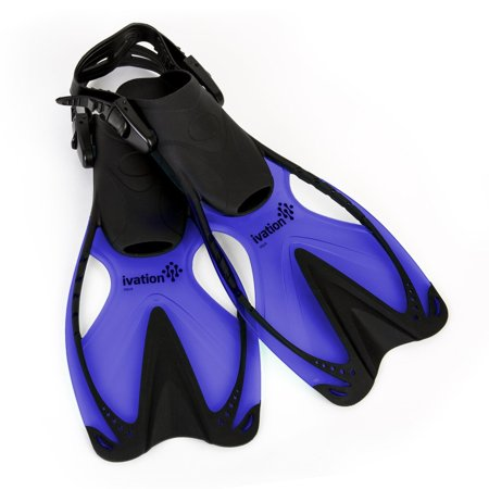 Swim Fins for Kids - Adjustable Speed Fins for Diving, Scuba Diving, Snorkeling, Swimming & Watersports - Ivation Aqua - Blue Small/Medium 9-13