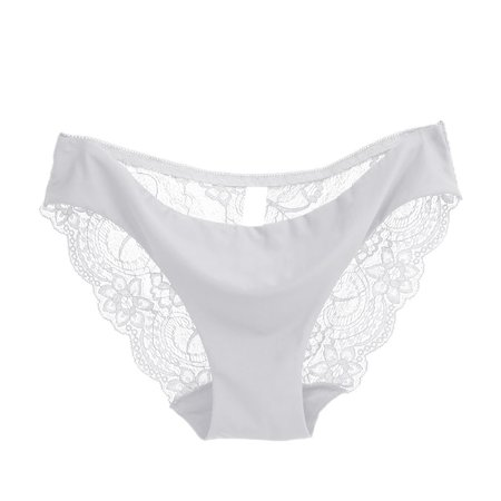 Women Sexy Seamless Briefs Transparent Panties Lace Underwear ()