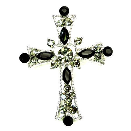 Faship Black Crystal Cross Crucifix Pin Brooch