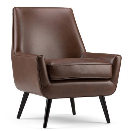 Brooklyn + Max Aria 30 inch Wide Mid Century Modern Accent Chair in Saddle Brown Faux Air Leather Circle Y Leather Saddle