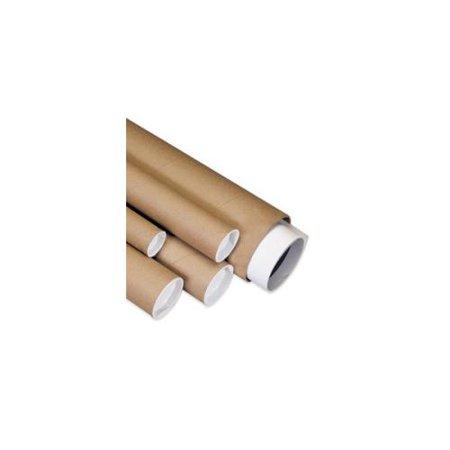 Box Partners Mailing Tubes with Caps,4x12, Kraft,15/CS - BXP P4012K