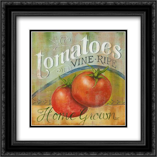 tomatoes vine ripe 2x matted 20x20 black ornate framed art