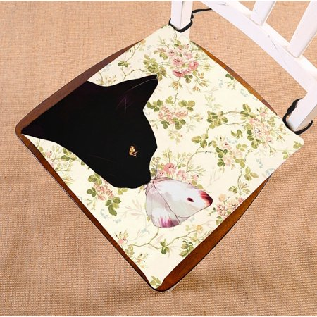 GCKG Cat and the Butterfly in Floral Pattern Chair Pad Seat Cushion Chair Cushion Floor Cushion with Breathable Memory Inner Cushion and Ties Two Sides Printing 16x16 inches Floral Chair Cushion