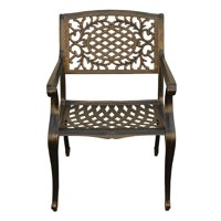 Oakland Living Ornate Traditional Outdoor Mesh Lattice Aluminum Bronze Dining Chair