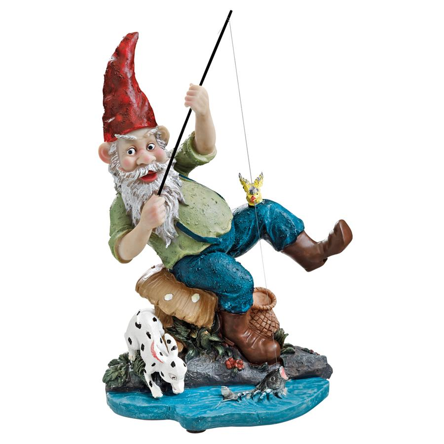 Gone Fishing Garden Gnome Statue by Design Toascano