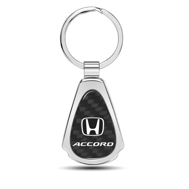 Honda Accord Real Black Carbon Fiber Chrome Metal Teardrop Key Chain iPick Image for