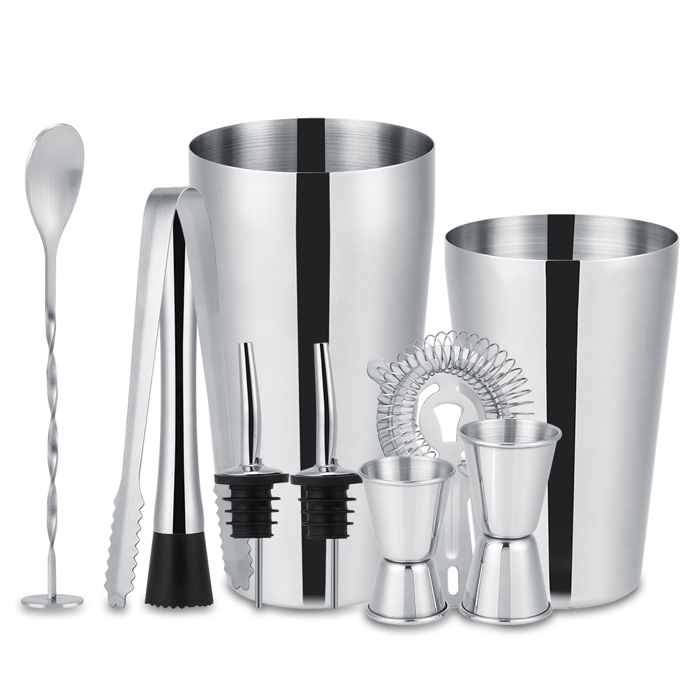 10Pcs Stainless Steel Cocktail Shaker Set Ice Tong Mixing Spoon Pourers Bar Tools(600ML and 750ML) by