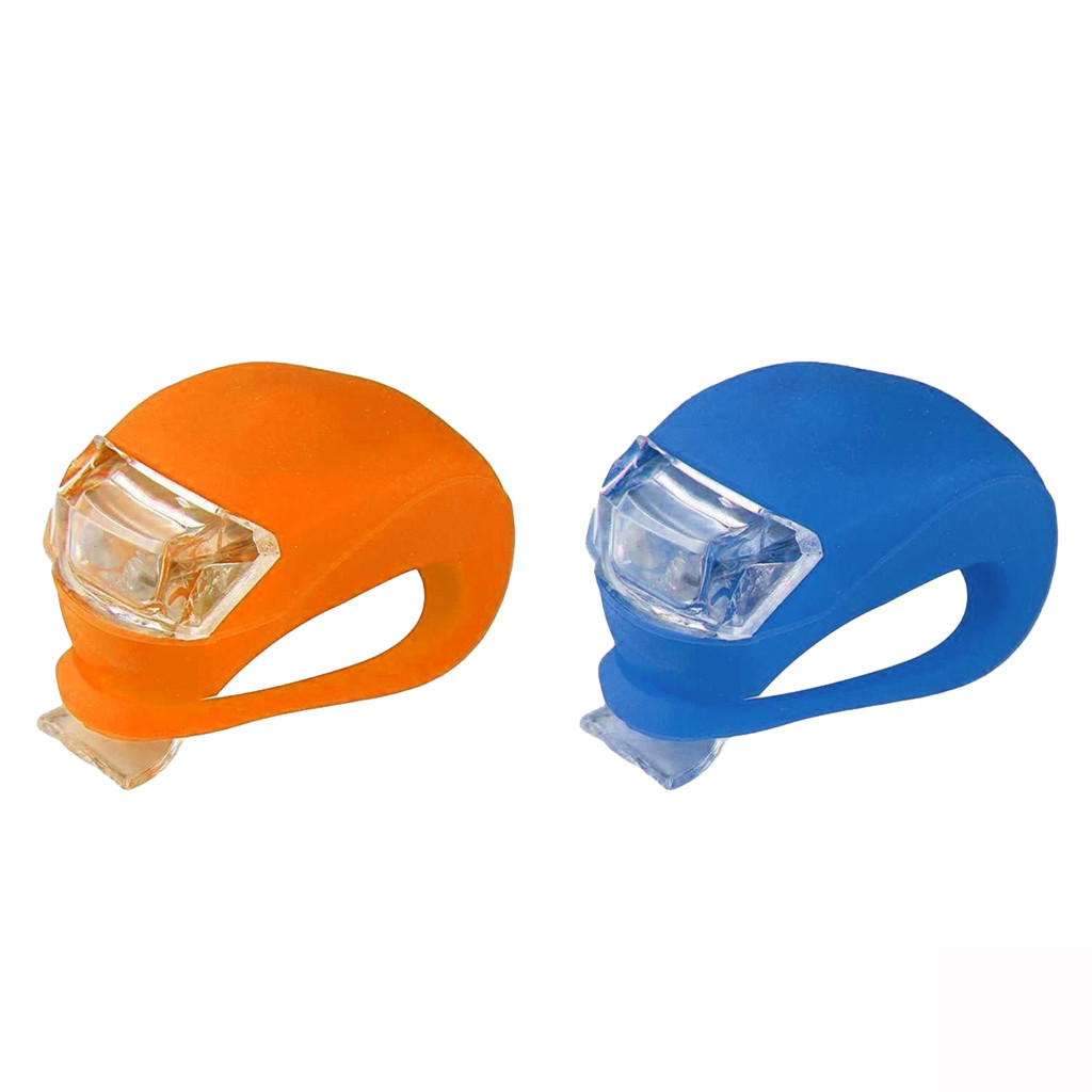 LED Silicone Mountain Bike Bicycle Front Rear Lights Set Push Cycle Light Clip