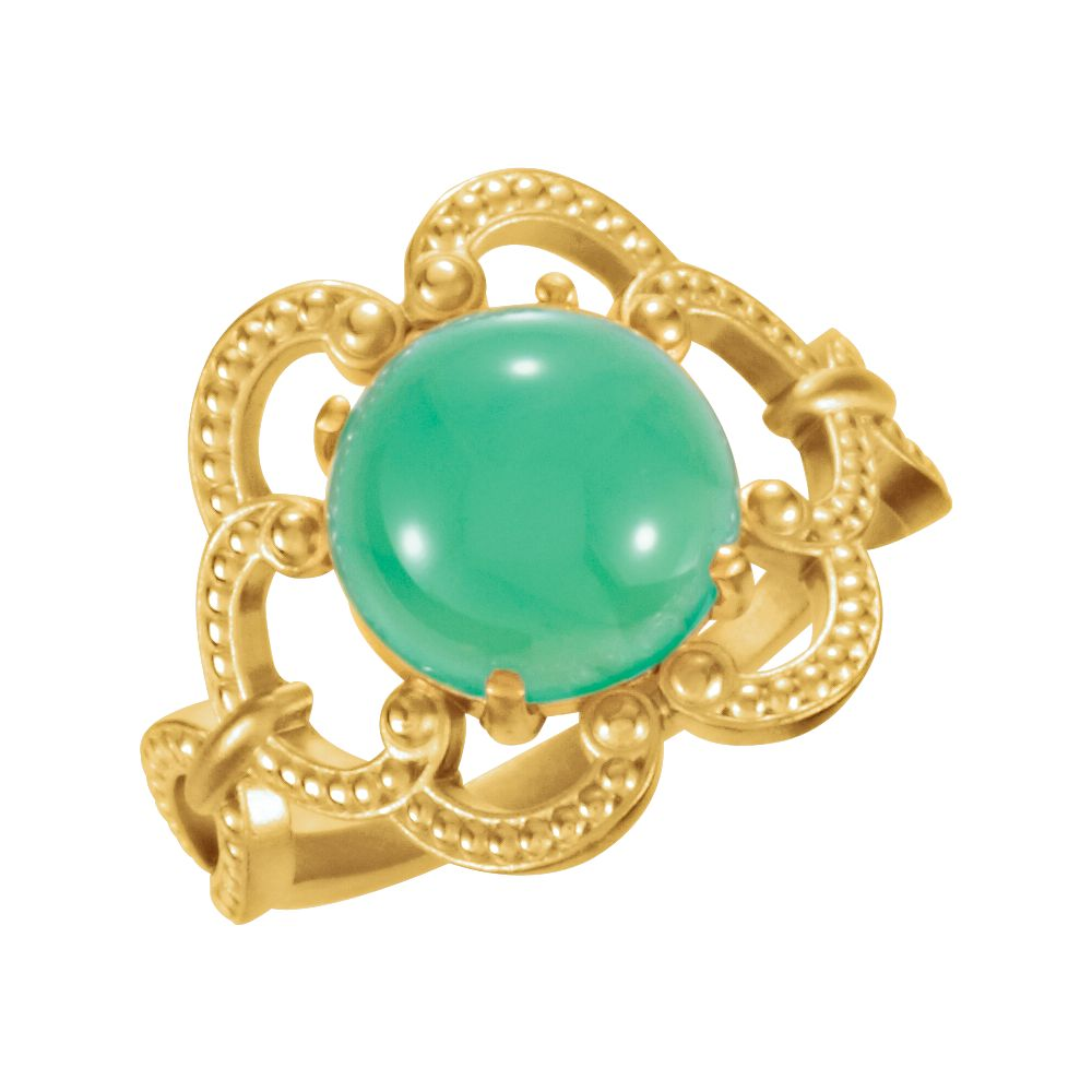 14k Yellow Gold 10mm Granulated Design Chrysoprase Cabochon Gemstone Ring by