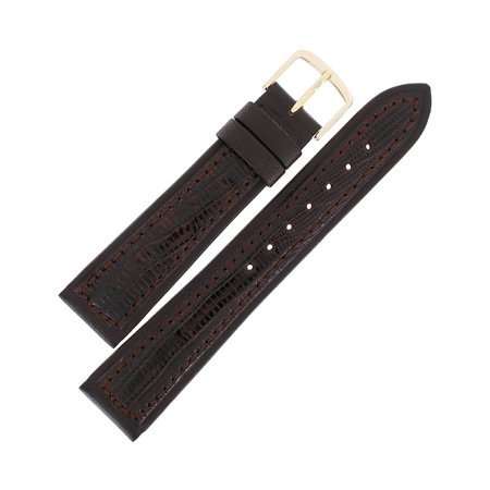 Hadley Roma MS807 20mm Mens Brown Stitched Genuine Teju Lizard Watch Strap