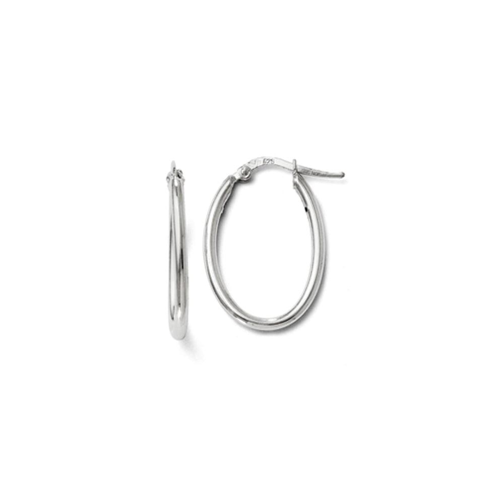2mm Polished Oval Hoop Earrings in Sterling Silver, 25mm (1 In)