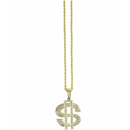 Jumbo Dollar Sign Necklace Gold Gangster Bling Rapper  Money Costume Jewelry