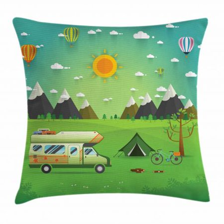 Happy Camper Throw Pillow Cushion Cover, Family Caravan with Bicycle and Balloons Outdoors Mountain Landscape Cartoon, Decorative Square Accent Pillow Case, 18 X 18 Inches, Multicolor, by Ambesonne