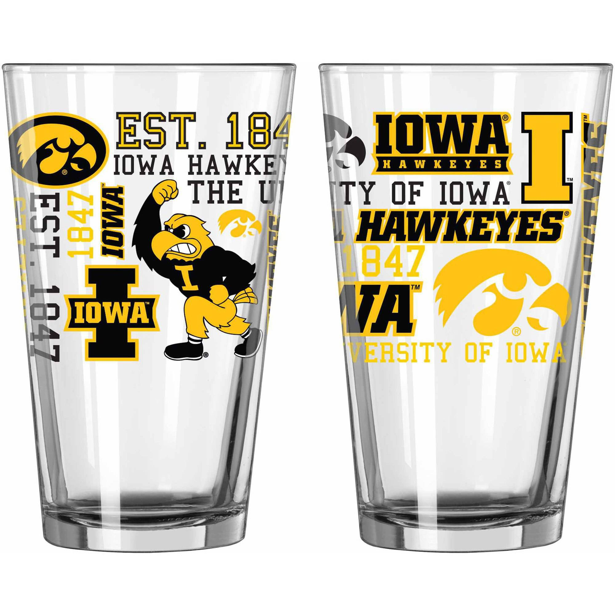 Boelter Brands NCAA Set of Two 16 Ounce Spirit Pint Glass Set, University of Iowa Hawkeyes