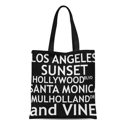 KDAGR Canvas Tote Bag Street of Los Angeles Location Cities Bold Reusable Handbag Shoulder Grocery Shopping (City Beach Store Locations)