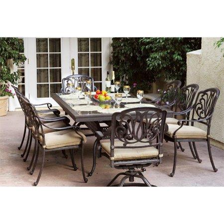 Darlee Elisabeth 9 Piece Patio Granite Top Dining Set with Cushion