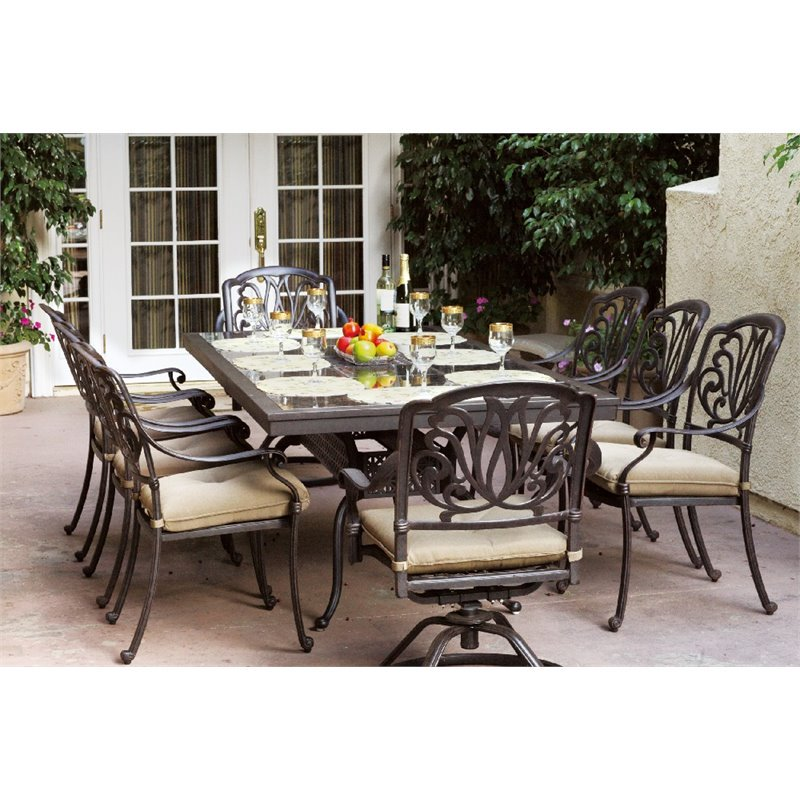 Darlee Elisabeth 9 Piece Patio Granite Top Dining Set with Cushion
