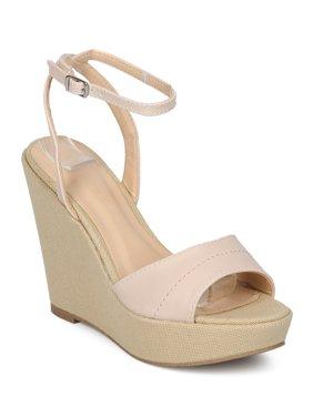 dd69e9f166f Product Image Women Leatherette Open Toe Ankle Strap Platform Wedge Sandal  HC73. Wild Diva