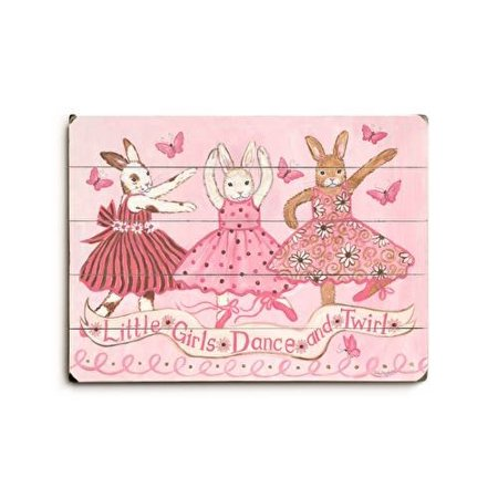 Little girls dance and twirl Wood Sign 18x24 (46cm x 61cm) Planked