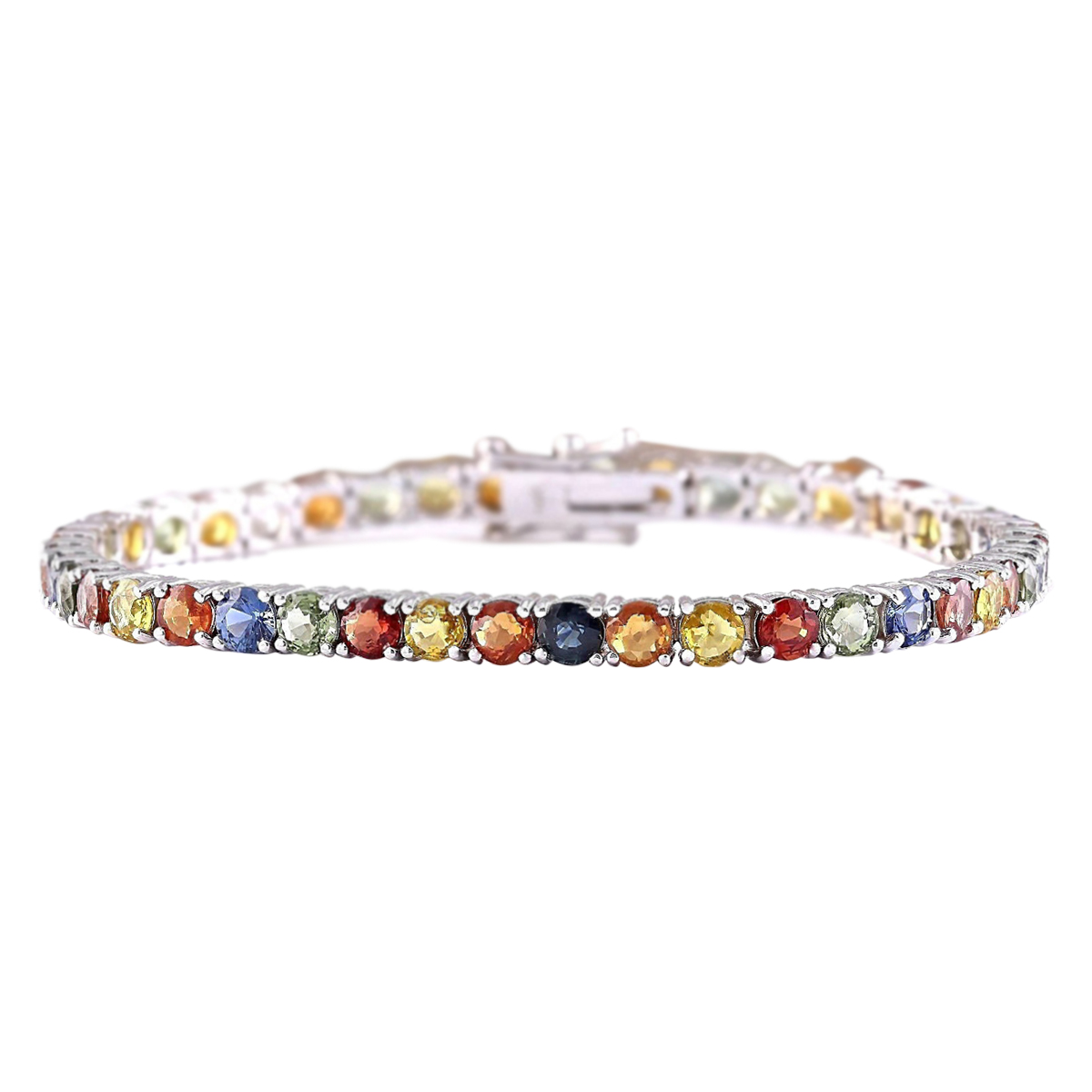 14.64 CTW Natural Multi-color Sapphire Bracelet In 14k Solid White Gold by