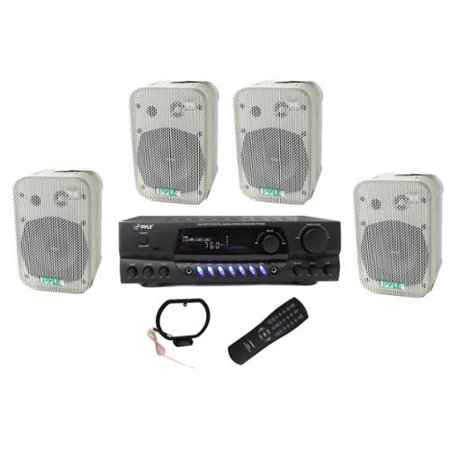 "4) Pyle 5.25"" Outdoor Speakers + PT260A 200W Stereo Home Theater Receiver by"