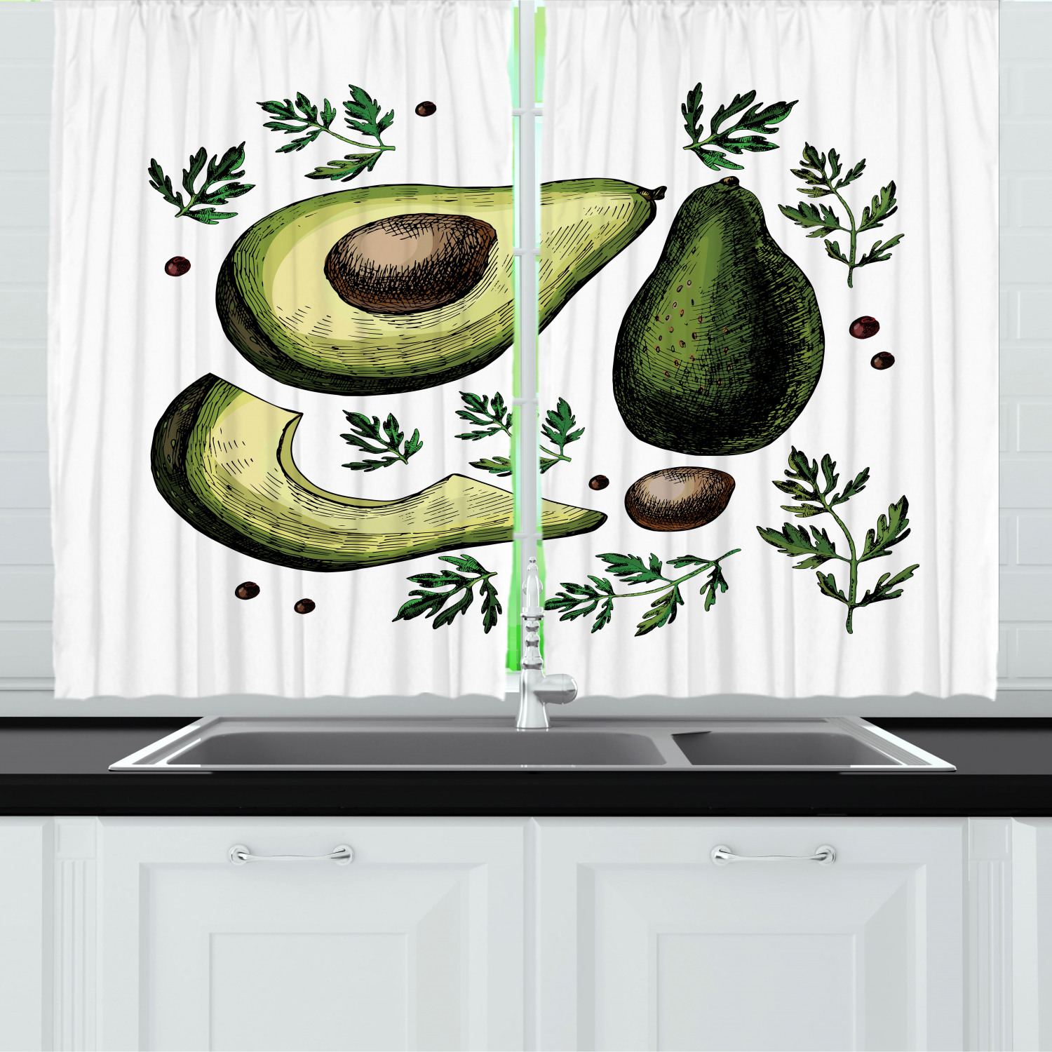 Avocado Curtains 2 Panels Set Retro Style Hand Drawn Doodle Image Of Tropical Foliage And Fruit Elements Theme Window Drapes For Living Room Bedroom 55w X 39l Inches Multicolor By Ambesonne Walmart Com