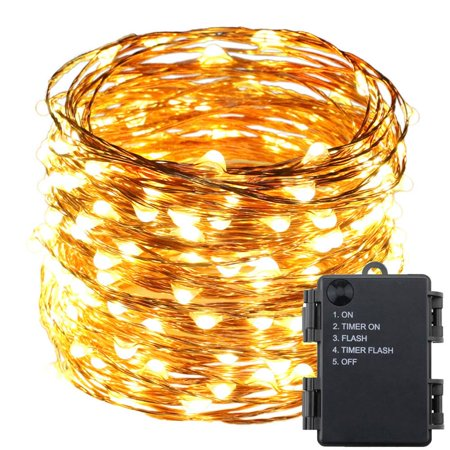 66ft 200 LED Timer Function Battery Powered Copper Wire String Light Fairy Light Home Christmas Decoration Warm White