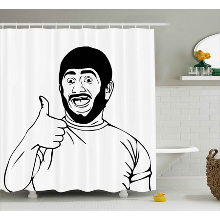 - Humor Decor Shower Curtain, Lol Happy Guy with Thumbs Up Bodily Gesture Cool Sounds Good Style Graphic, Fabric Bathroom Set with Hooks, 69W X 84L Inches Extra Long, Black White, by Ambesonne