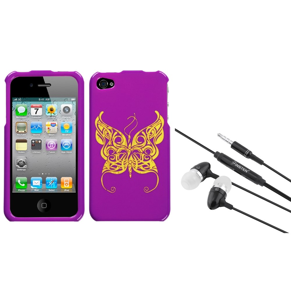 Insten Flying Butterfly Reflex Case (w/Package) For iPhone 4 4S + 3.5mm Headset