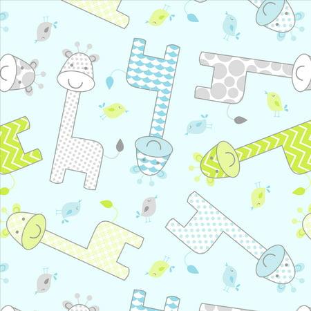David Textiles Anti-Pill Fleece Pre-Cut Fabric Giraffe Blue Fabric, per - Blue Fabric