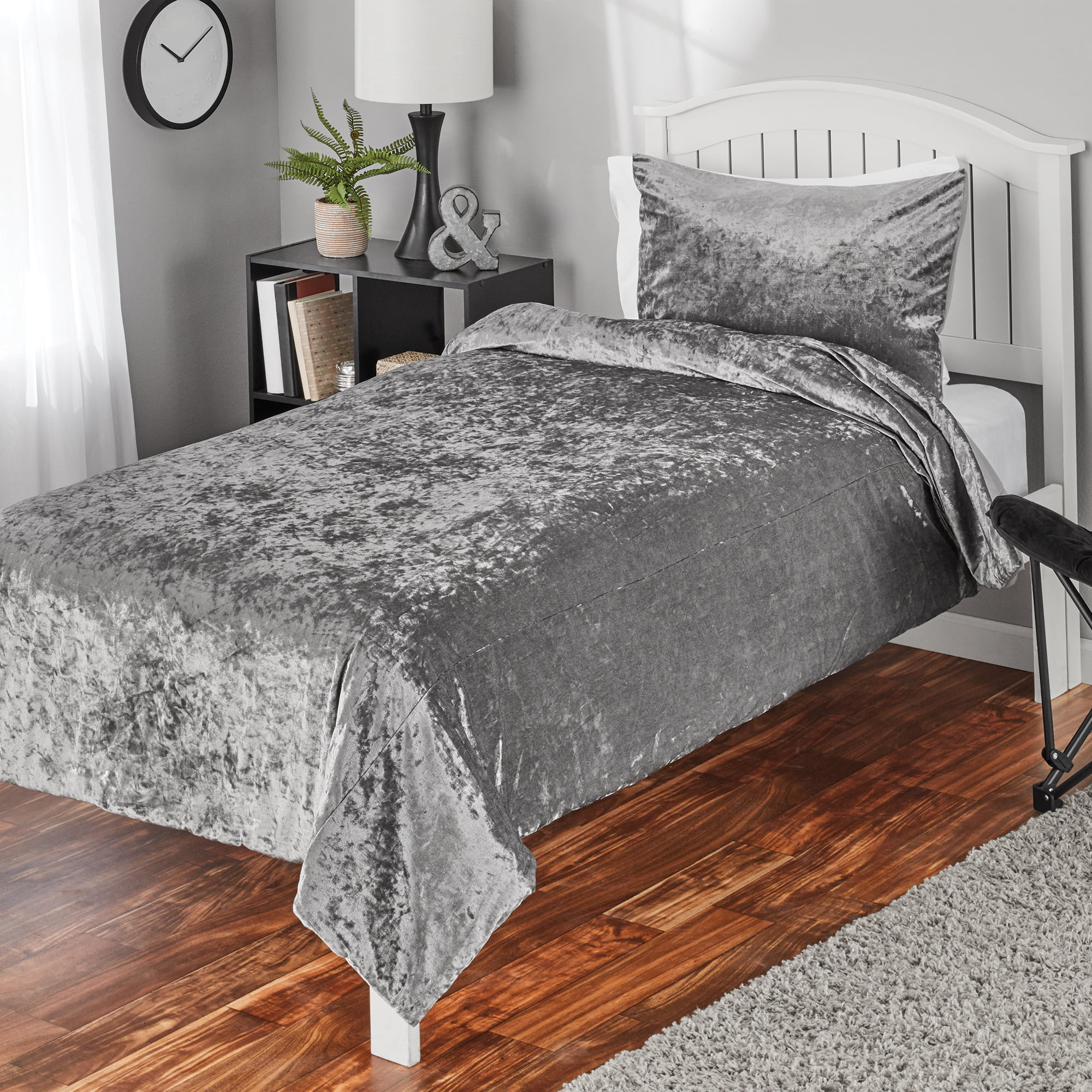 Mainstays Crushed Velvet Comforter Bedding Mini Sets