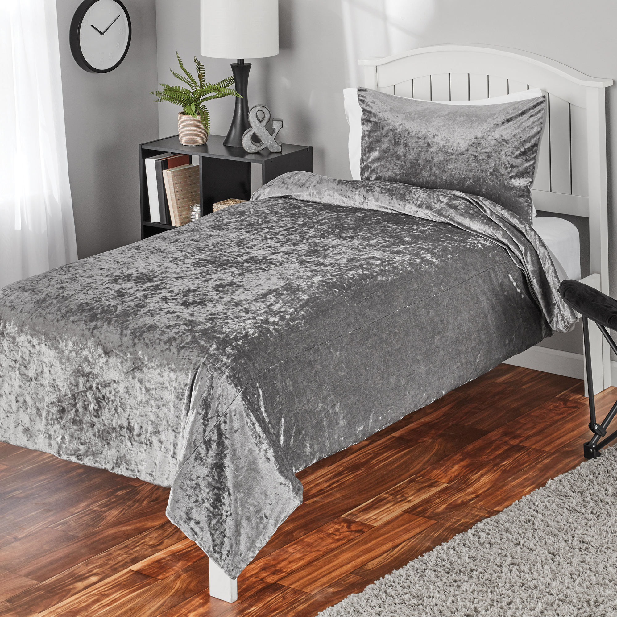 Mainstays Crushed Velvet Twin or Twin XL Comforter Mini Set, 2 Piece