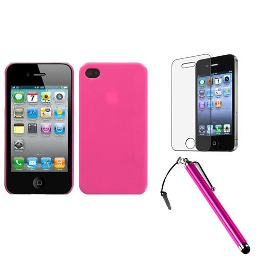 Insten Natural Pink Phone Back Case For iPhone 4 4S + Stylus + LCD Film