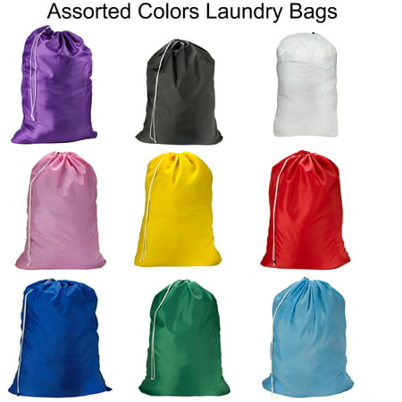 Magg Large 30 X 40 Inch Heavy Duty Nylon Laundry Bag With Drawstring Slip Lock Closure In Assorted Colors And Designs Packs