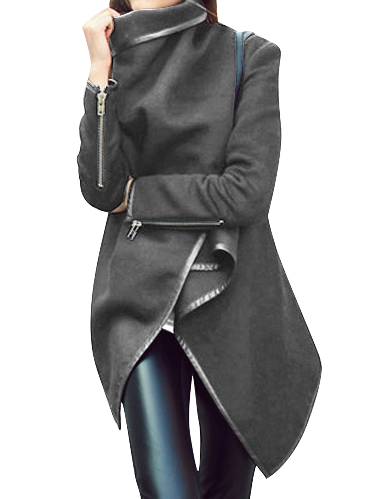 LMart Women Oversized Solid Color Wrap Trench Coat Jacket Outwear