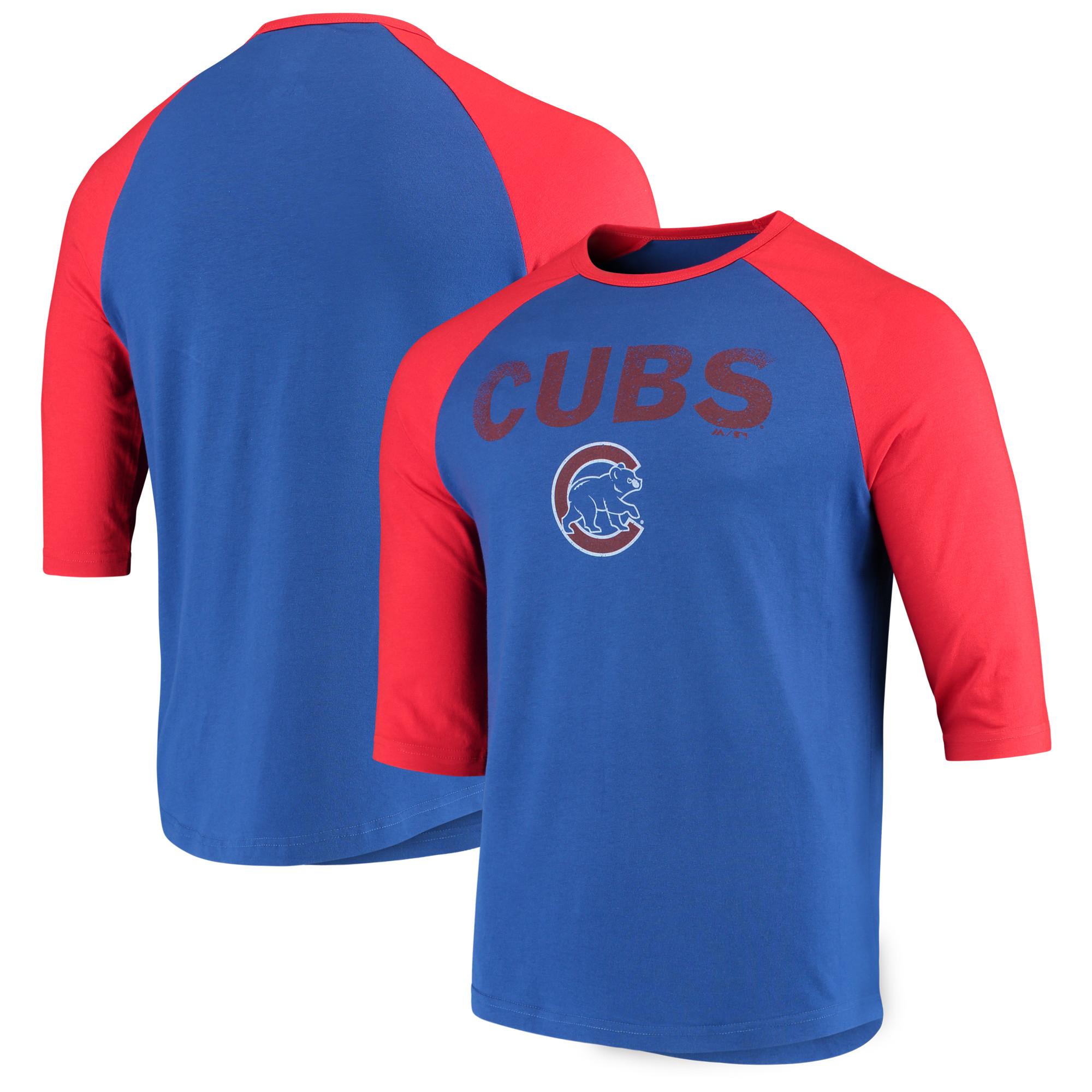 Chicago Cubs Majestic This Season 3/4-Sleeve Tri-Blend Raglan T-Shirt - Royal