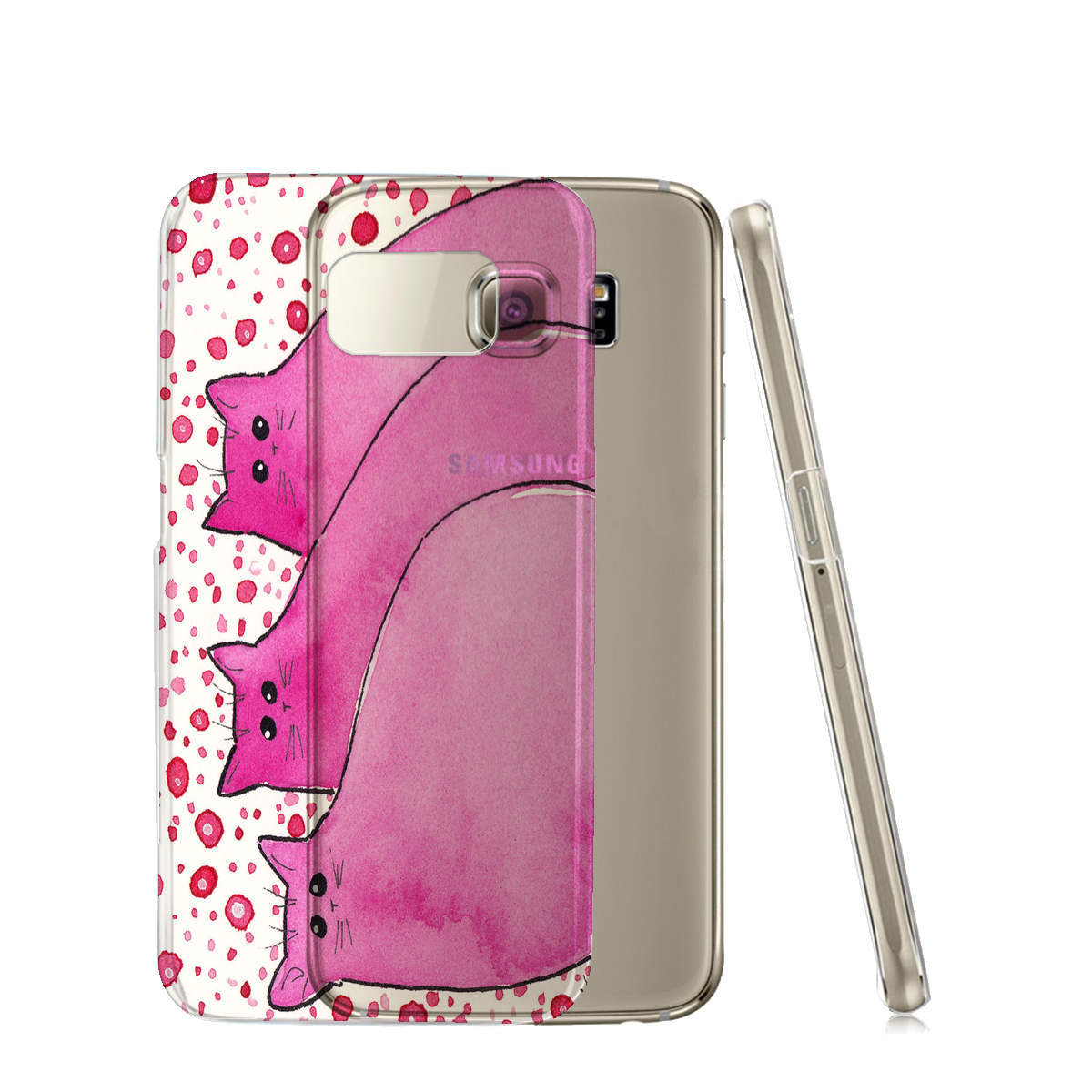 KuzmarK™ Samsung Galaxy S6 Edge Clear Cover Case - Cherry Pink Chunky Kitties Abstract Cat Art by Denise Every