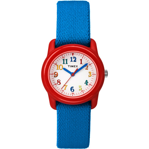 Timex Kids Boys Quartz Resin Case and Strap Blue Nylon Strap White Dial Red Watch - TW7B99500