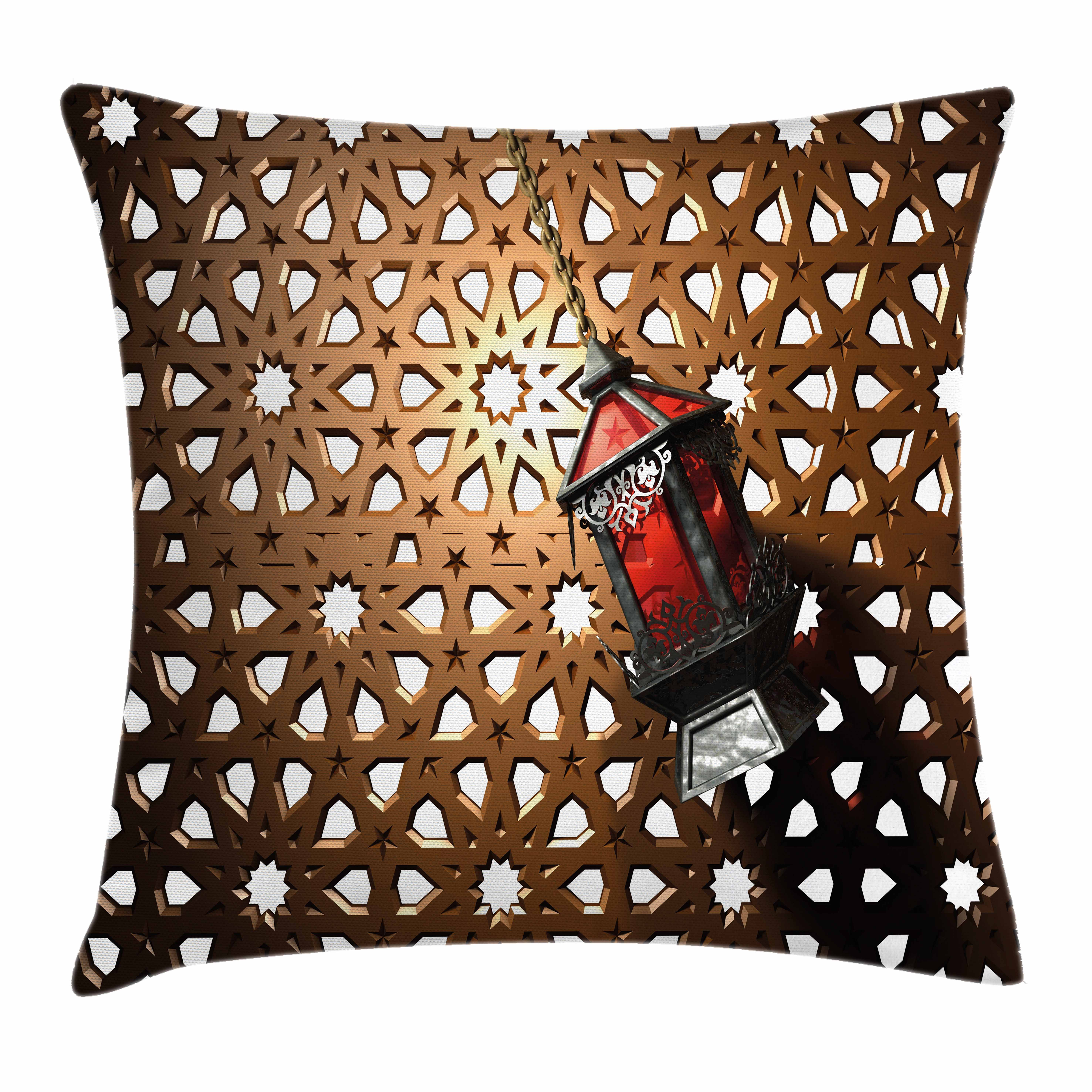 Lantern Throw Pillow Cushion Cover, Egyptian Fanoos in a 3D Illustration of... by Kozmos