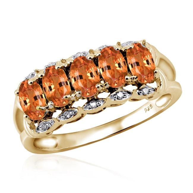 JewelonFire Silver Mandarin Garnet Gemstone and White Diamond Accent Five Stone Ring