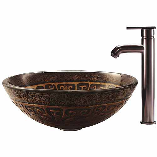 Vigo Golden Greek Glass Vessel Sink and Faucet Set, Oil Rubbed Bronze