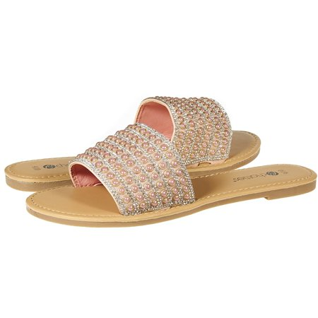 Chatties By Sara Z Womens Open Toe Crystal Rhinestone Pearl Slip-On Flat Slide Sandal Flip Flop Size 9/10 Blush